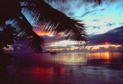 Micronesian Sunset; Nikon F, 28mm Lens by Rick Tegeler