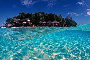 Sipadan Island, Malaysia with 16mm fisheye by Katherine Edwards
