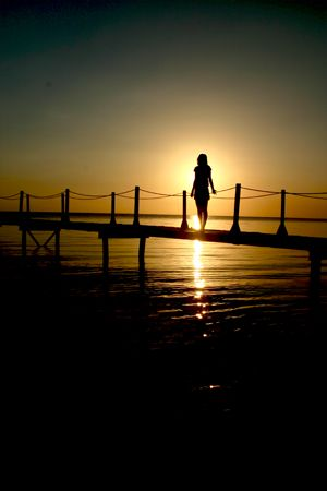 I saw the sunset and saw the lady...combined they could i... by Francisco Nakahara