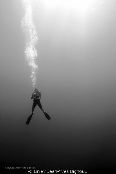 Diver on deco Mauritius Linley Jean-Yves Bignoux/Canon 7... by Linley Jean-Yves Bignoux