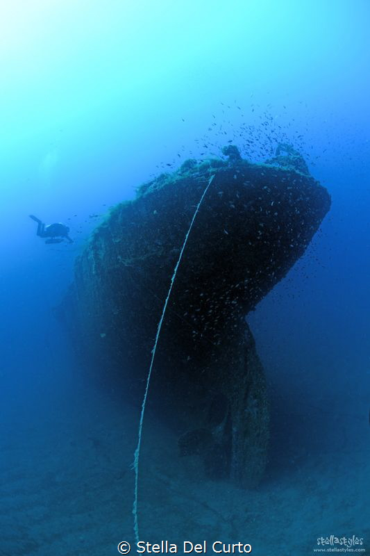 Romagna wreck in Sardinia, lying on a sand bottom at 42 m... by Stella Del Curto