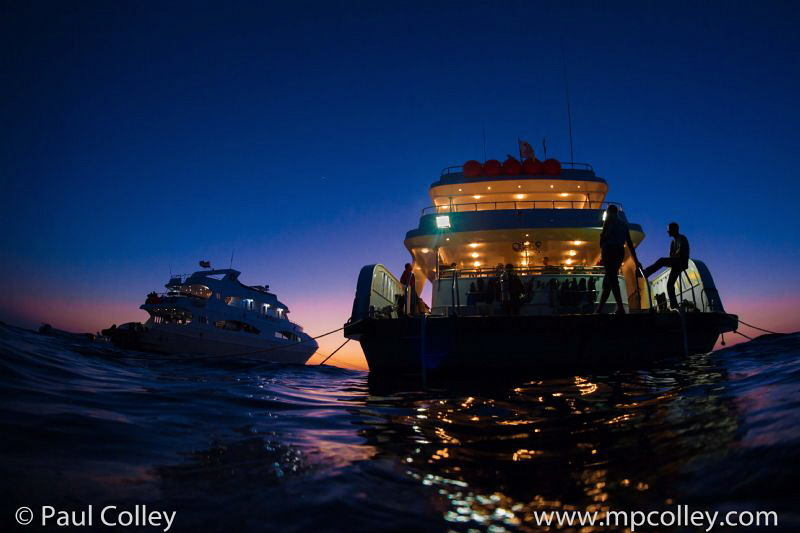 Dive boats at dusk by Paul Colley