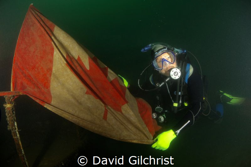 Diver unfurls the flag at the bow of sunken boat in the W... by David Gilchrist