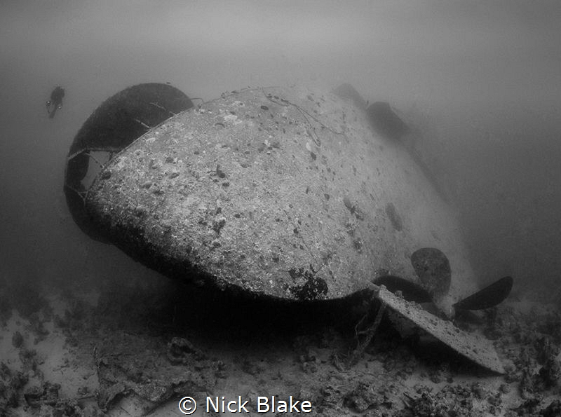 Stern view of the Thistlegorm wreck, Red Sea. by Nick Blake