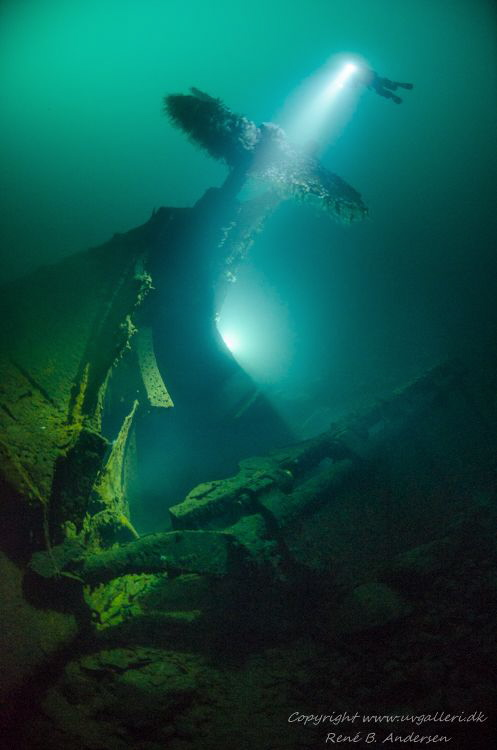 Photo is taken on 80 meters in Norway, the wreck is WW2 I... by Rene B. Andersen