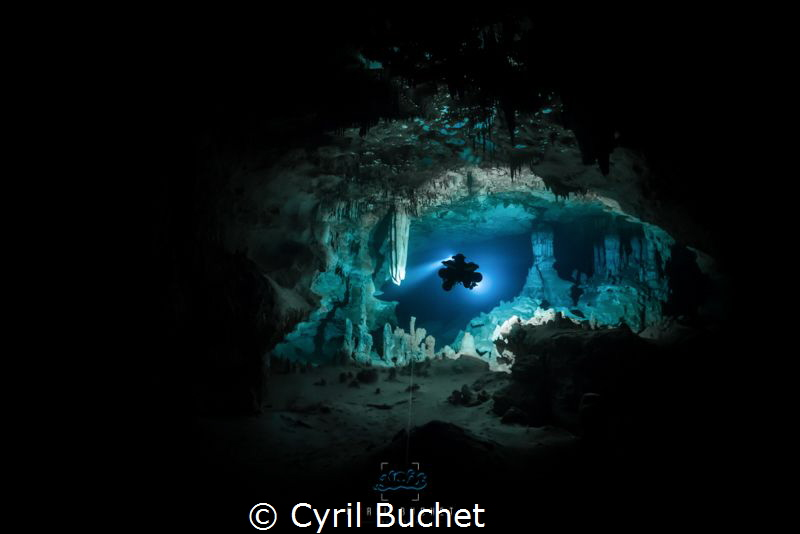 Cave diving, cenote Nariz, Mexico by Cyril Buchet