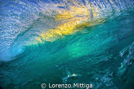 Water ceiling. Facing a breaking  Caribbean wave at sunse... by Lorenzo Mittiga