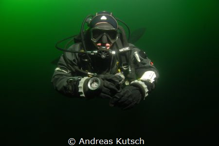 Diver at lake Geiseltalsee by Andreas Kutsch
