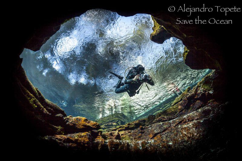 JC out of cave, Las Estacas México by Alejandro Topete