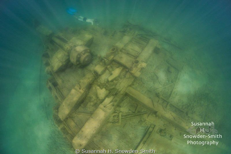 A free diver explores the stern of the Joseph S. Fay ship... by Susannah H. Snowden-Smith