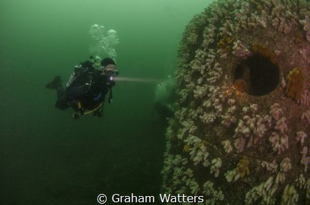 A diver on a ship wreck off the coast near Tynemouth UK by Graham Watters