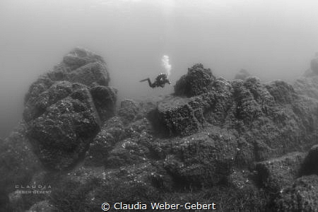 underwater mountain landscape with diver - France, medite... by Claudia Weber-Gebert