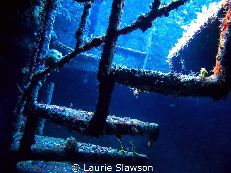 Interior of shipwreck in Barbados. by Laurie Slawson