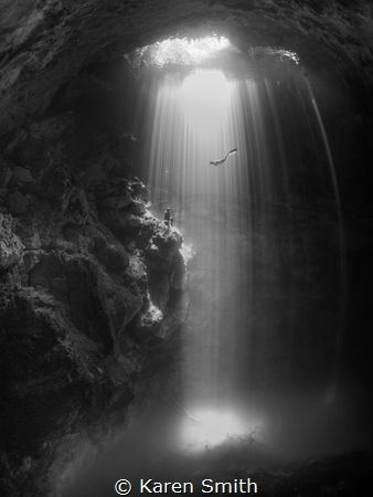 This image was taken at 'The Pit Cenote' in Tulum, Mexico... by Karen Smith