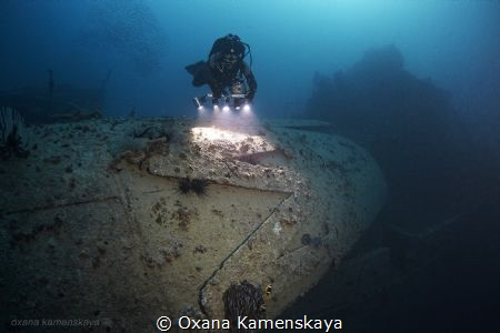 SS Rosalie Moller, North Red sea. The ship's funnel. 