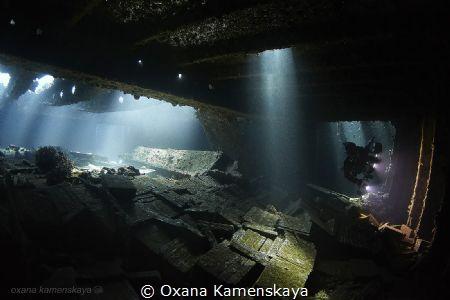 MV Marcus (Tile wreck). Inside the cargo holds. by Oxana Kamenskaya