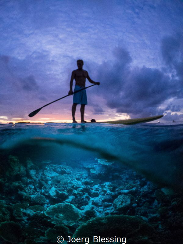 Night Stand up Paddleboard. by Joerg Blessing