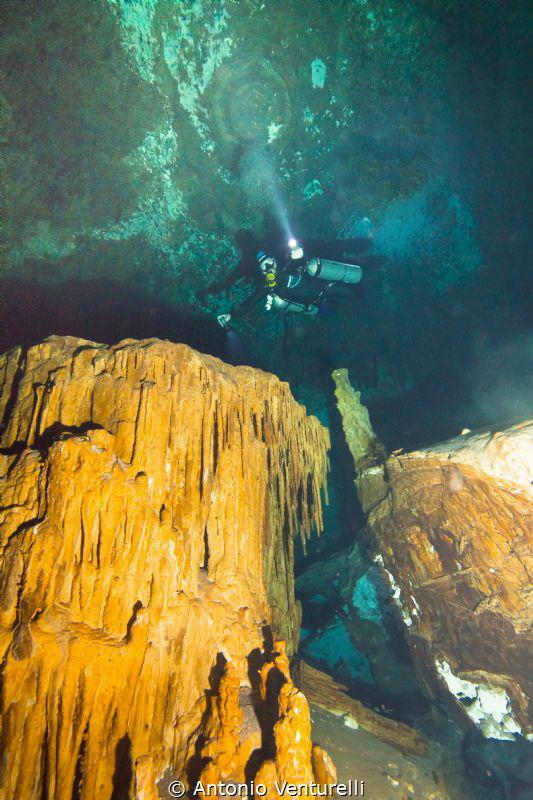 mineral formations, tropical cave, Mexico by Antonio Venturelli