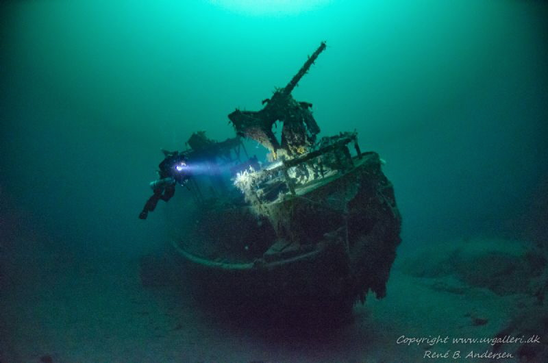 Mosel WW2 wreck laying on 60meter depht in Norway. by Rene B. Andersen