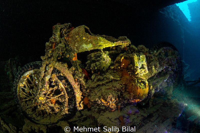 Famous motorbike in SS thistlegorm. by Mehmet Salih Bilal