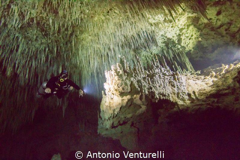 cave diving by Antonio Venturelli