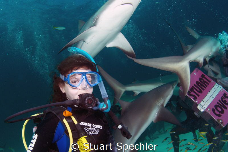 A young diver (my granddaughter) couldn't be happier to b... by Stuart Spechler