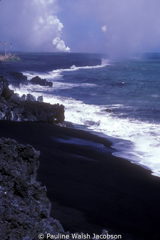 Lava flowing into the sea, Hilo, Hawaii by Pauline Walsh Jacobson