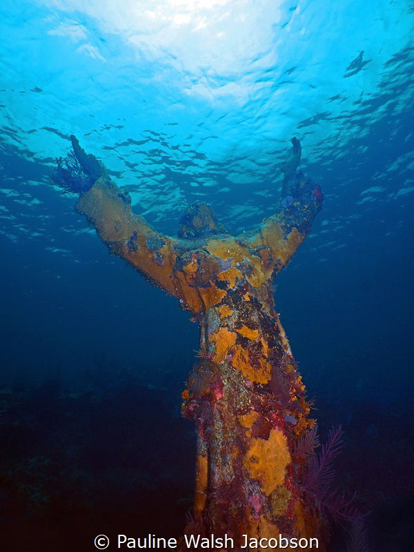 Christ of the Abyss Statue, Dry Rocks Reef, John Pennekam... by Pauline Walsh Jacobson