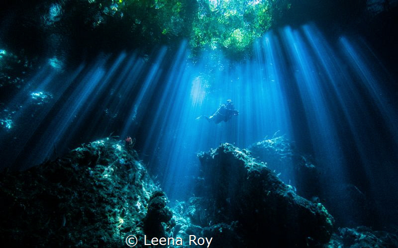 Natural light in cave in the Passage, Indonesia by Leena Roy