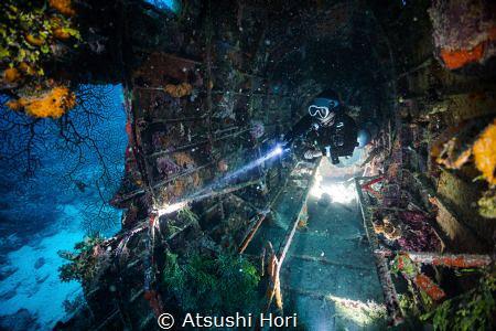 "A diver in plane wreck ""Kawanishi H8K - Type2 Flying Boat... by Atsushi Hori"