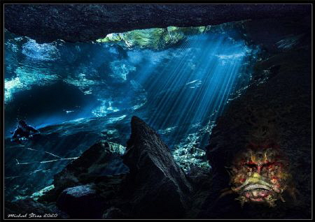 A monster in Cenote Chac Mool of ancient Mayas by Michal Štros