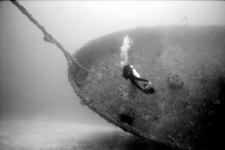 Pam on the Bibb - Key Largo wreck a US Coast Gaurd Cutter... by Michael Salcito
