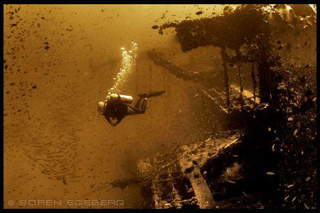 Diver on Sugar wreck in Perhentian islands. by Soren Egeberg