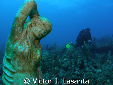 photographer luis in mermaid point dive site at parguera,... by Victor J. Lasanta