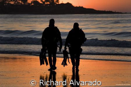 Divers leaving the water after their dive. by Richard Alvarado