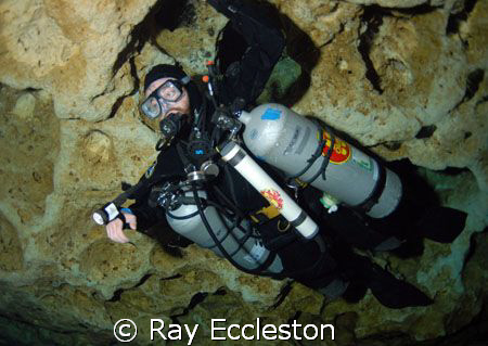 Side mount cave diver taken at Ginnie Springs FL. Camera ... by Ray Eccleston