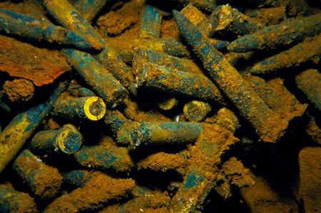 "A ""Box-o-Bullets"" on the Sankisan Maru in truk lagoon, F.... by Mike Ellis"