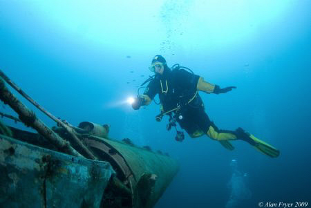 Christine on the Helicopter wreck Capernwray 5 degrees, N... by Alan Fryer