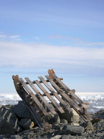 An old sled left behind from an antarctic expedition, loo... by Andrew Macleod