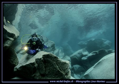 """My wife Caroline - diving one of the most beautiful """"Poss... by Michel Lonfat"""