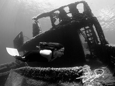 finswimmer & Wreck by Nicholas Samaras