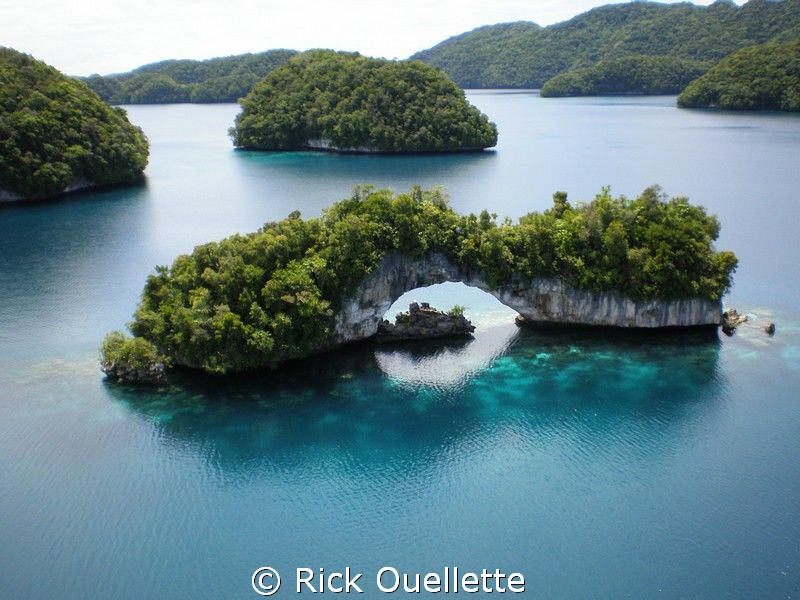 The Rock Islands in Micronesia as seen from the air.The I... by Rick Ouellette
