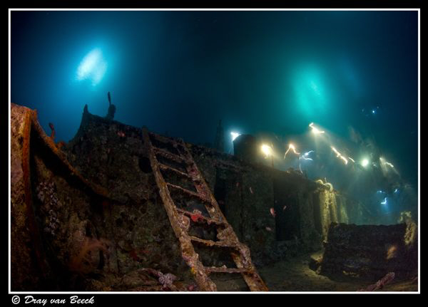 Thistlegorm nightdive. Long exposure. by Dray Van Beeck