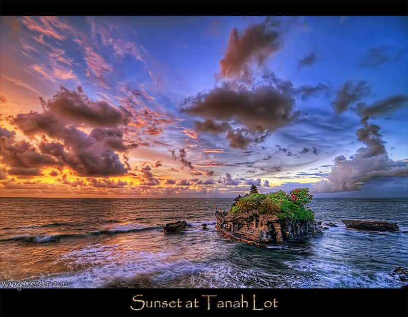 Tanah Lot temple at sunset. HDR from 3 photographs (Nikon... by Marco Waagmeester