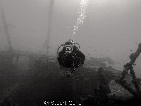 "Wreck diver on the ""Mahi"" by Stuart Ganz"