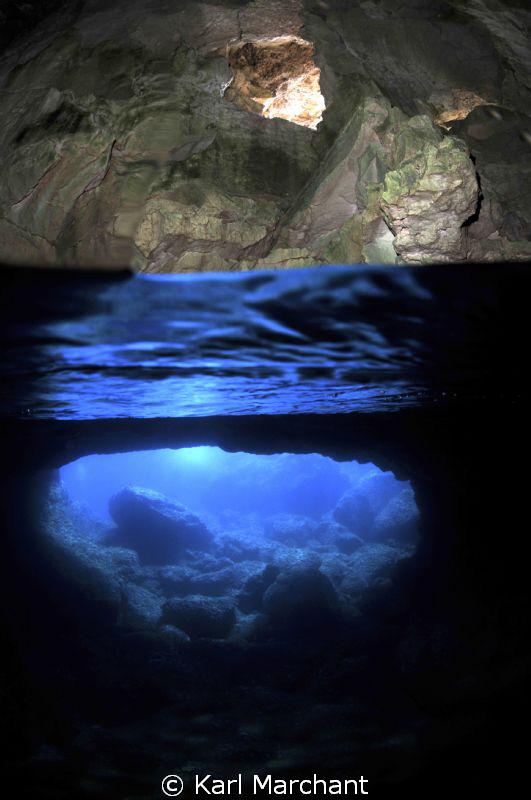 Cave of light in Menorca, near Cala Galdana. left strobe... by Karl Marchant