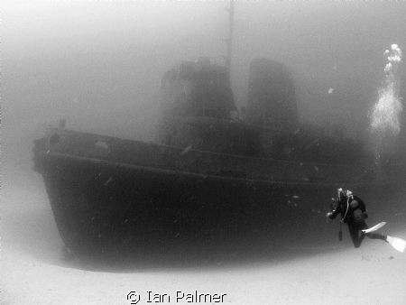"""The tug boat """"Rozi"""" Sits in 36metres off Cirkewwa reef ... by Ian Palmer"""