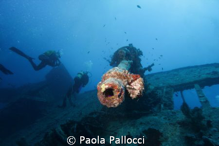 anti-aircraft gun of the wreck of SS Thistlegorm by Paola Pallocci