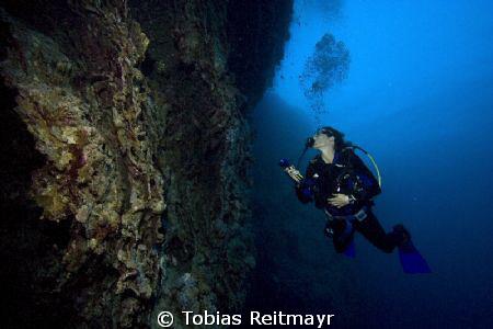 Christine exploring, outside Blue Hole, Dahab. Canon EOS ... by Tobias Reitmayr