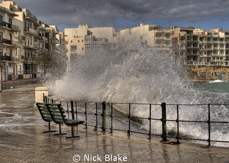 No diving today! Stormy weather at Marselforn, Gozo by Nick Blake